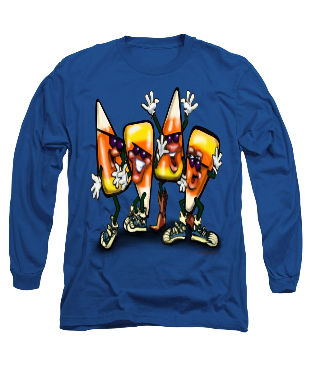 Candy Long Sleeve T-Shirt featuring the digital art Candy Corn Gang by Kevin Middleton
