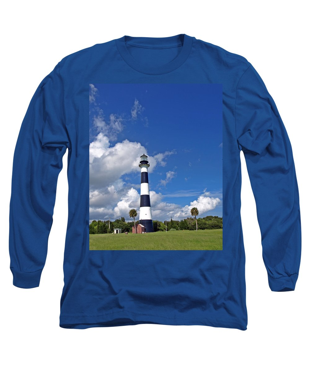 Lighthouse; Light; Canaveral; Cape; Cape Canaveral; Ccafs; Florida; East; Coast; Kennedy; Space; Cen Long Sleeve T-Shirt featuring the photograph Cape Canaveral Light In Florida by Allan Hughes