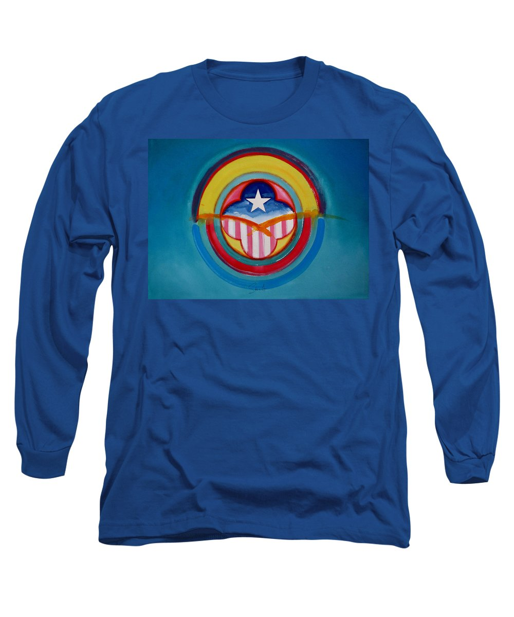 Button Long Sleeve T-Shirt featuring the painting CIA by Charles Stuart