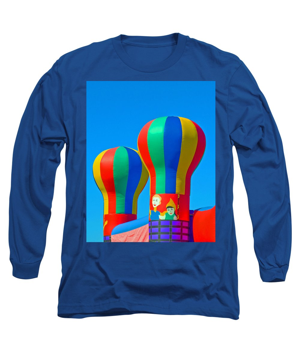 Pillow; Sky; Circus; Carnival; Country; Fair; Ball; Balloon; Colors; Colorful; Bounce; House; Castle Long Sleeve T-Shirt featuring the photograph Circus In The Sky - Three by Allan Hughes