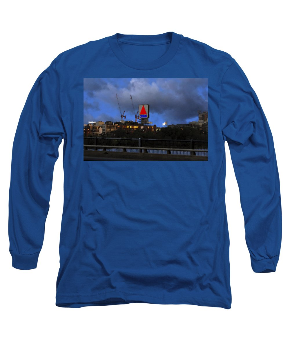 Citgo Sign Long Sleeve T-Shirt featuring the digital art Citgo Sign by Edward Cardini