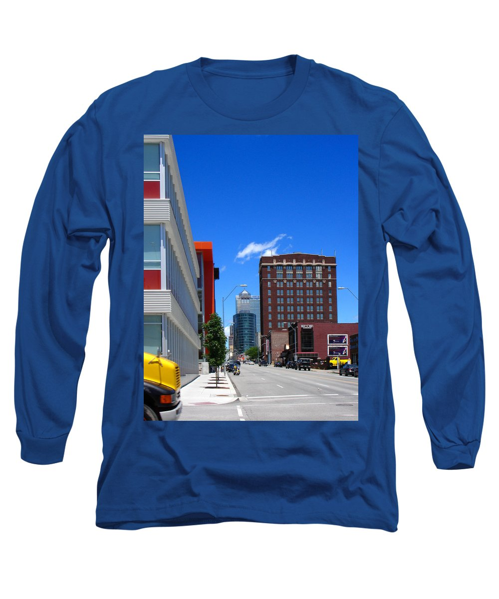 Kansas City Long Sleeve T-Shirt featuring the photograph City Street by Steve Karol