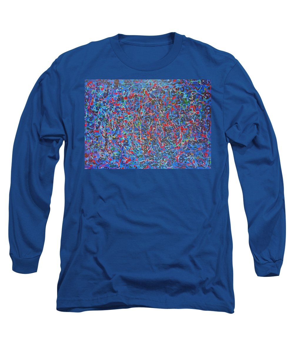 Abstract Long Sleeve T-Shirt featuring the painting Confetti by Ericka Herazo