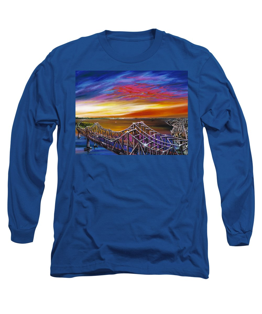 Clouds Long Sleeve T-Shirt featuring the painting Cooper River Bridge by James Christopher Hill