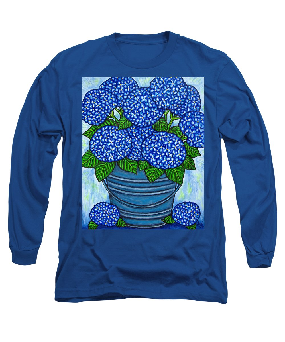 Blue Long Sleeve T-Shirt featuring the painting Country Blues by Lisa Lorenz