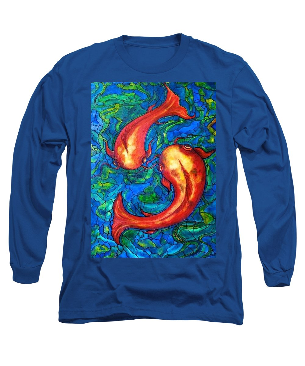 Original Painting Long Sleeve T-Shirt featuring the painting Courtship by Rae Chichilnitsky