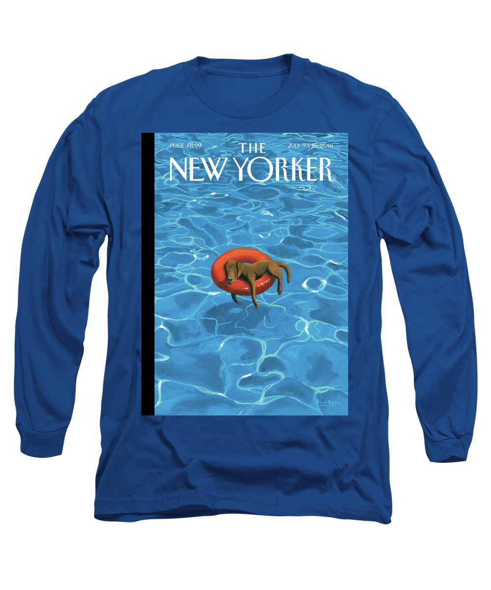 Downtime Long Sleeve T-Shirt featuring the drawing Downtime by Mark Ulriksen