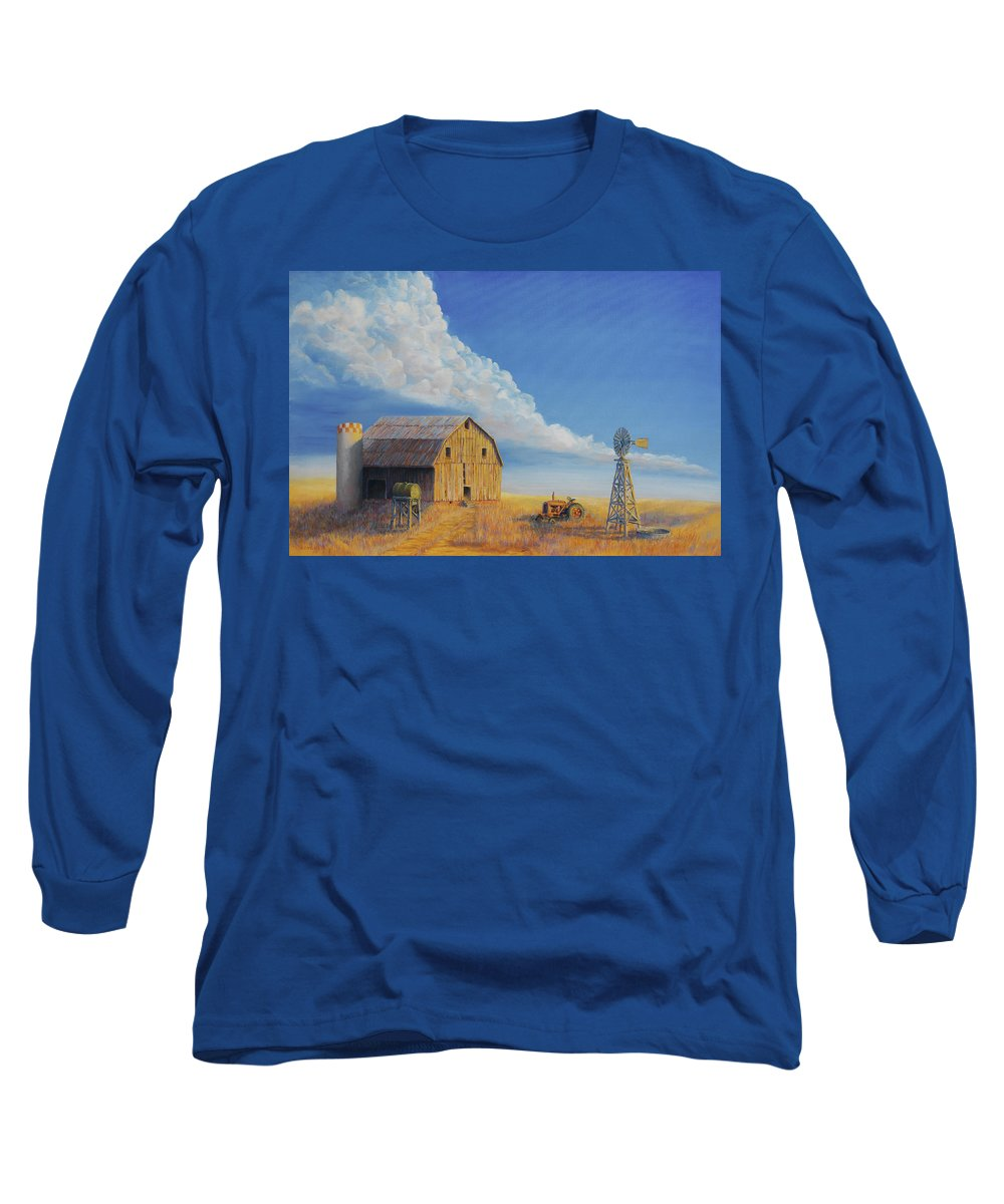 Barn Long Sleeve T-Shirt featuring the painting Downtown Wyoming by Jerry McElroy
