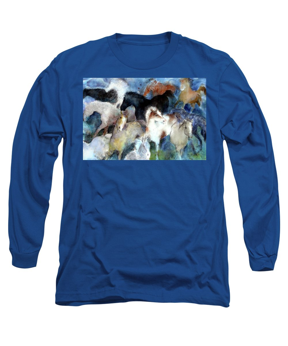 Horses Long Sleeve T-Shirt featuring the painting Dream Of Wild Horses by Christie Michelsen