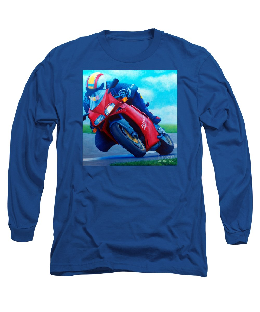 Motorcycle Long Sleeve T-Shirt featuring the painting Ducati 916 by Brian Commerford