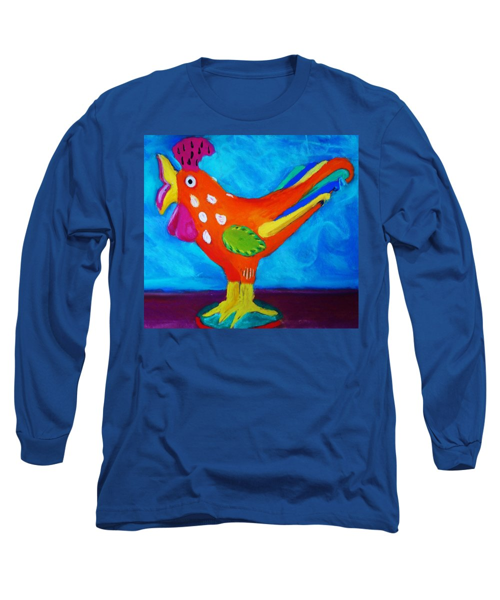 Bird Long Sleeve T-Shirt featuring the pastel Dusty's Chick by Melinda Etzold