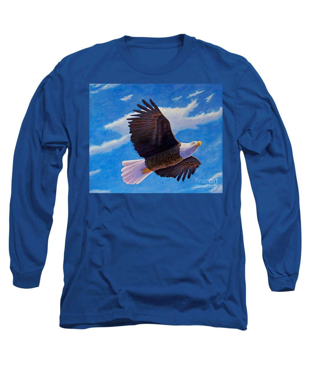 Eagle Long Sleeve T-Shirt featuring the painting Eagle Heart II by Brian Commerford