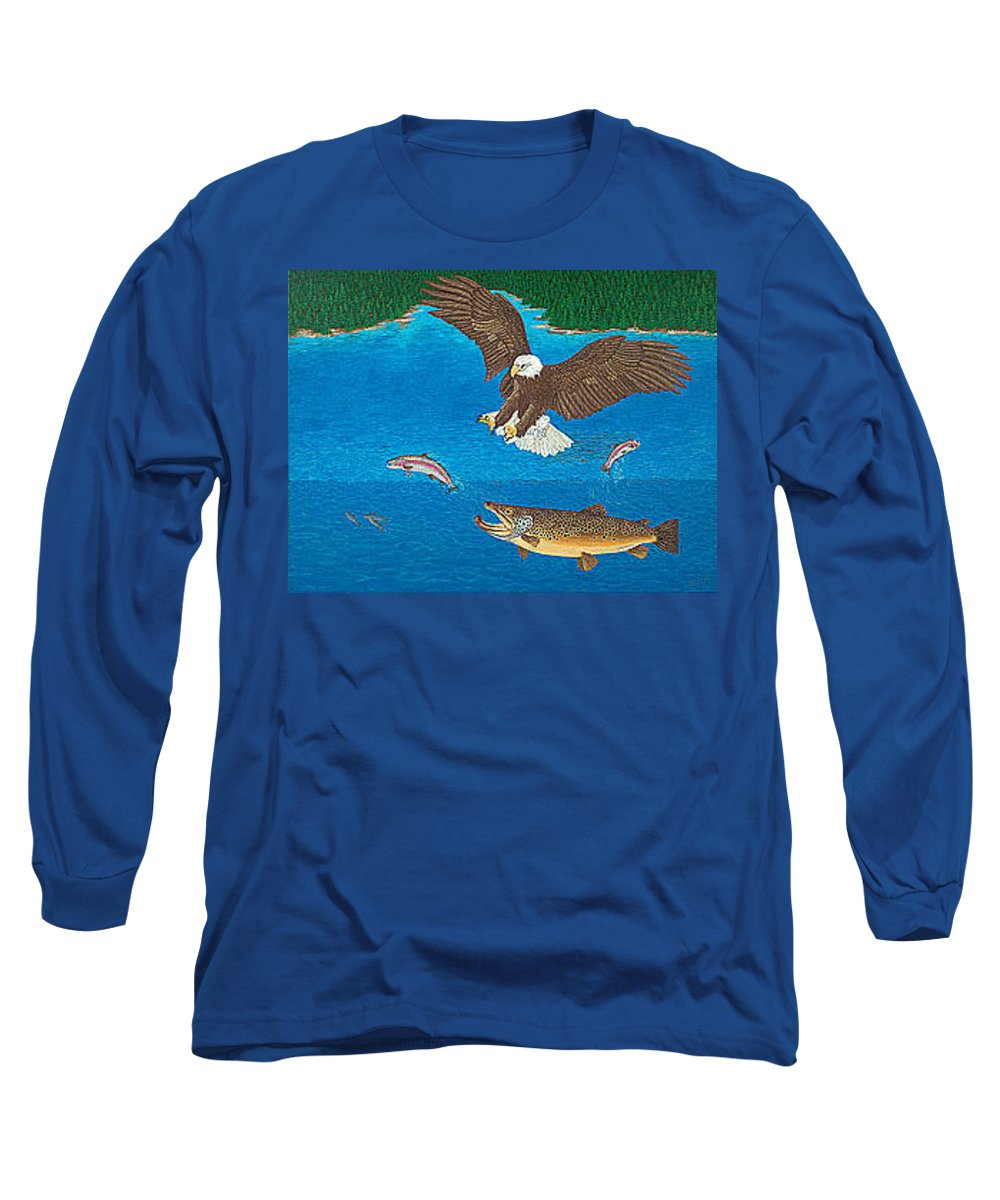 Art Print Prints Giclee Canvas Framed Brown Trout Eagle Lake Mountain Forest Nature Wildlife Wall Long Sleeve T-Shirt featuring the painting Eagle Trophy Brown Trout Rainbow Trout Art Print Blue Mountain Lake Artwork Giclee Birds Wildlife by Baslee Troutman