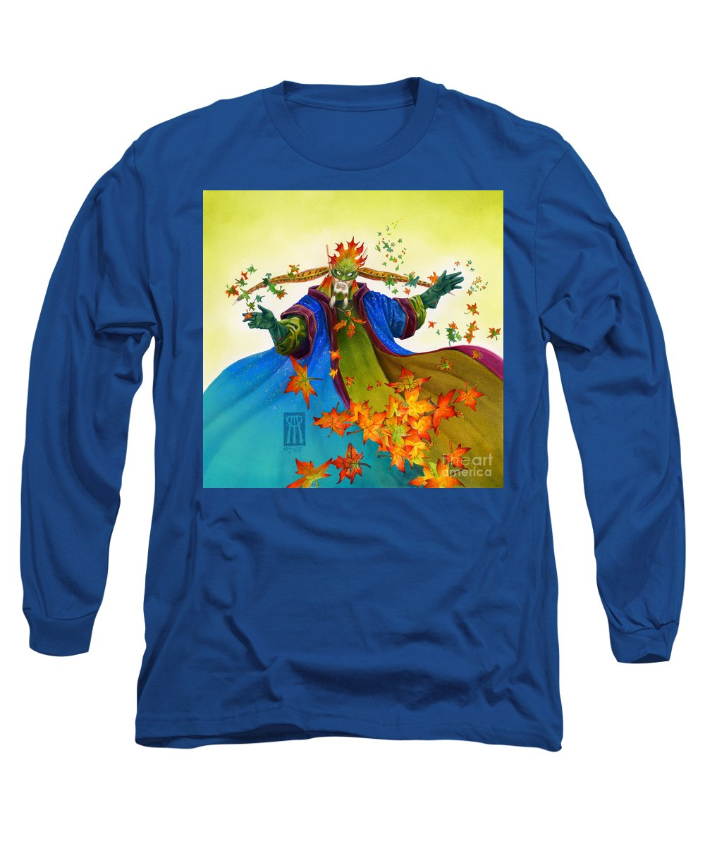 Elf Long Sleeve T-Shirt featuring the painting Elven Mage by Melissa A Benson