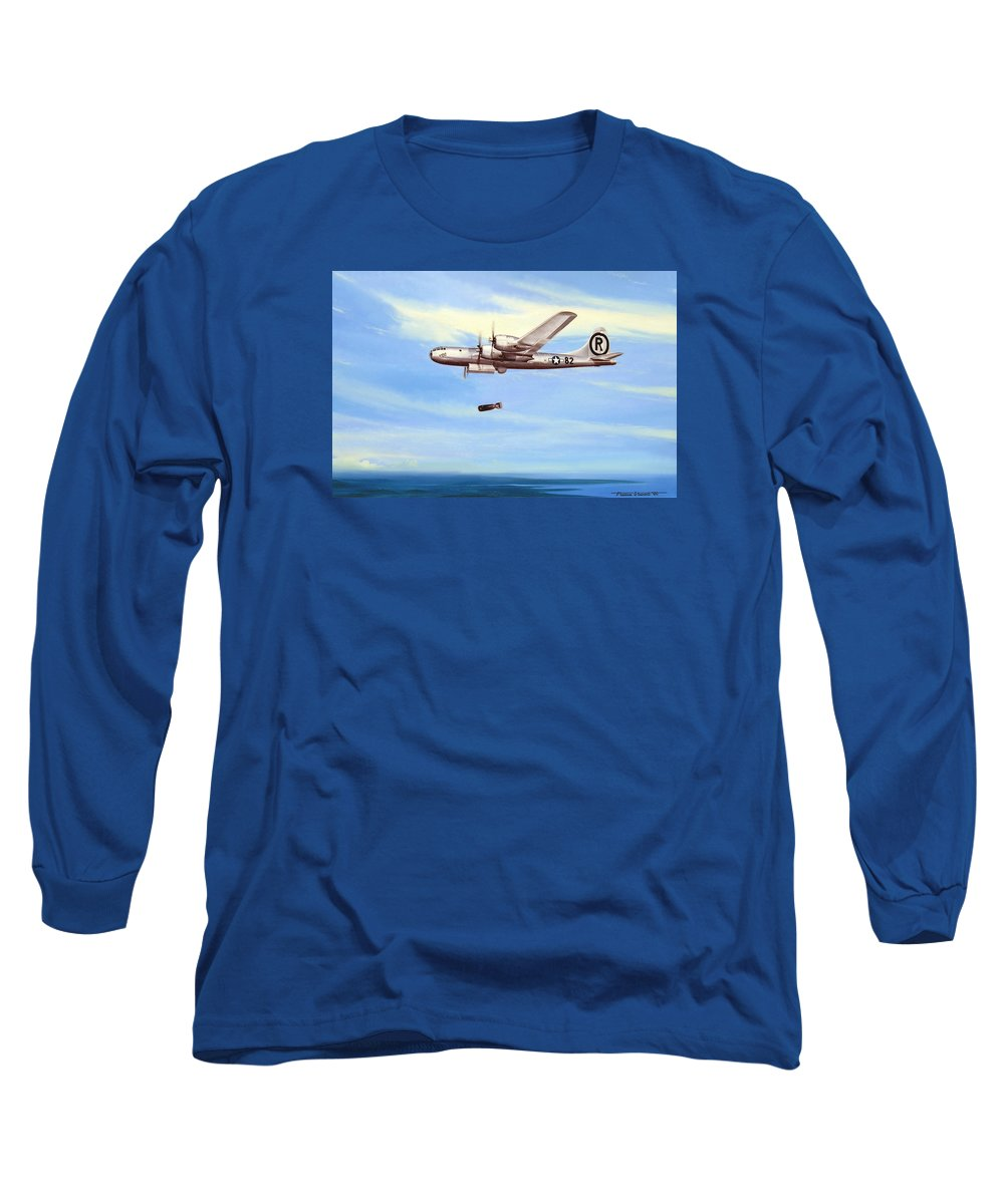 Military Long Sleeve T-Shirt featuring the painting Enola Gay by Marc Stewart