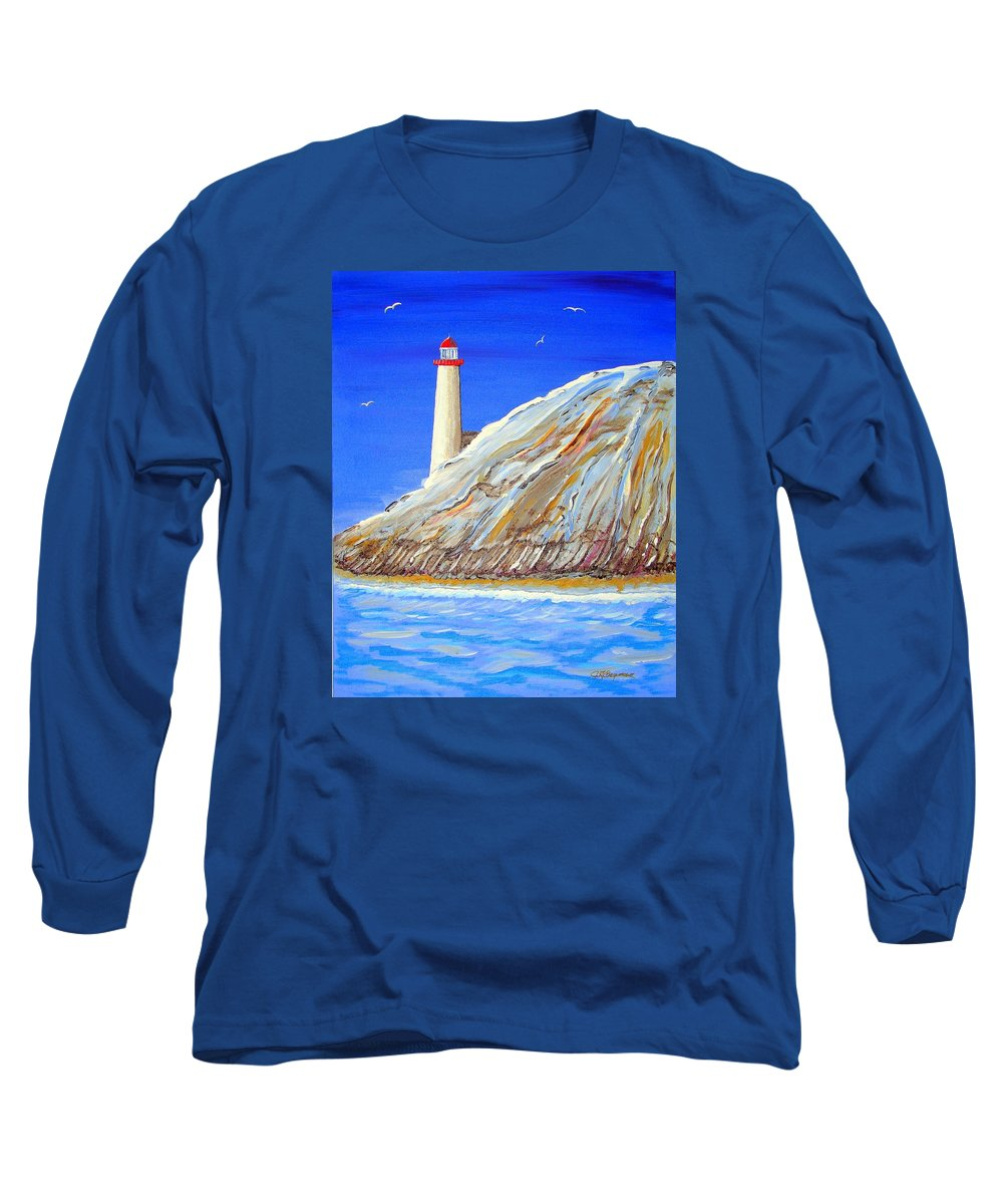 Lighthouse Long Sleeve T-Shirt featuring the painting Entering The Harbor by J R Seymour