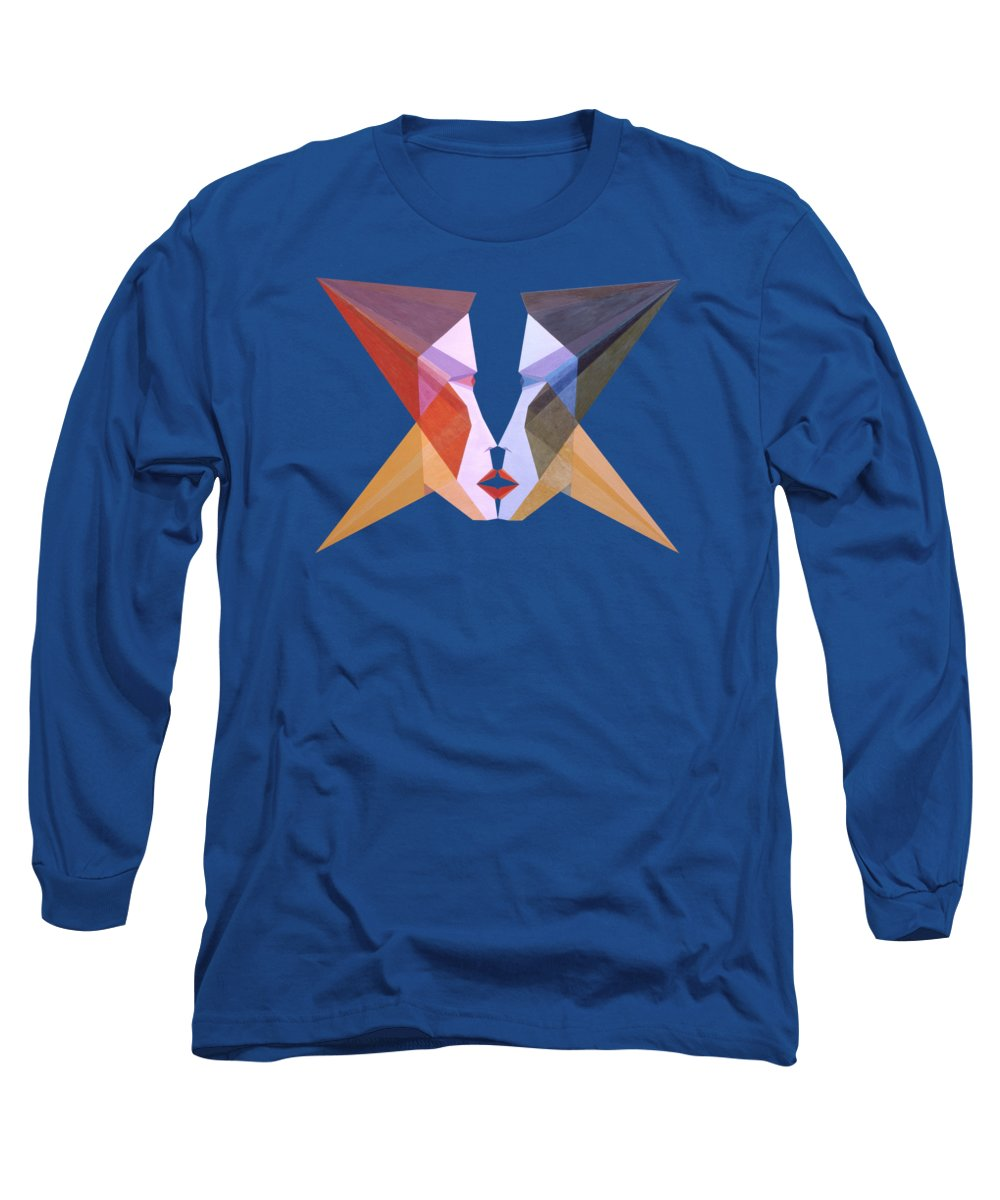 Painting Long Sleeve T-Shirt featuring the painting Face of Amoureux by Michael Bellon