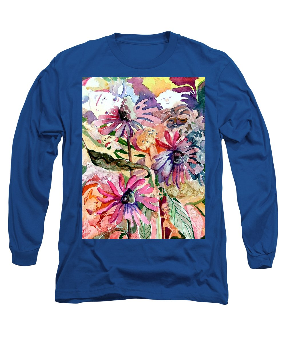 Daisy Long Sleeve T-Shirt featuring the painting Fairy Land by Mindy Newman