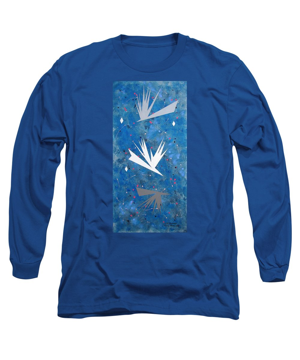 Birds And Diamond Stars Long Sleeve T-Shirt featuring the painting Feeding Frenzy by J R Seymour