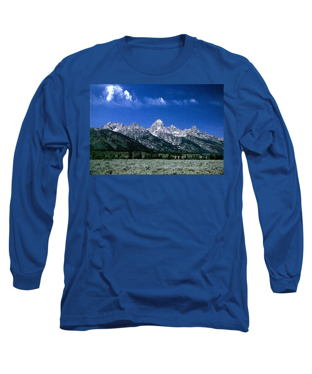 Mountains Long Sleeve T-Shirt featuring the photograph First View Of Tetons by Kathy McClure