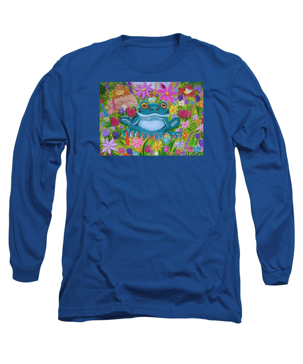 Frog Long Sleeve T-Shirt featuring the painting Frogs And Flowers by Nick Gustafson