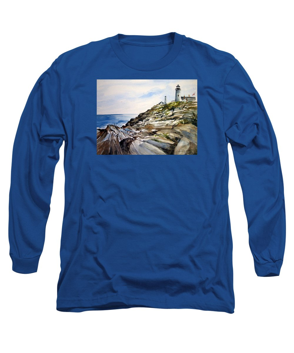 Pemaquid Light House;rocks;ocean;maine;pemaquid;light;lighthouse; Long Sleeve T-Shirt featuring the painting From The Rocks Below by Lois Mountz