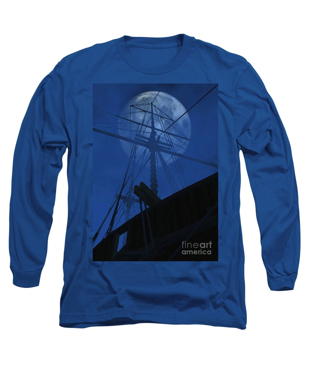 Ghost Ship Long Sleeve T-Shirt featuring the digital art Ghost Ship by Richard Rizzo