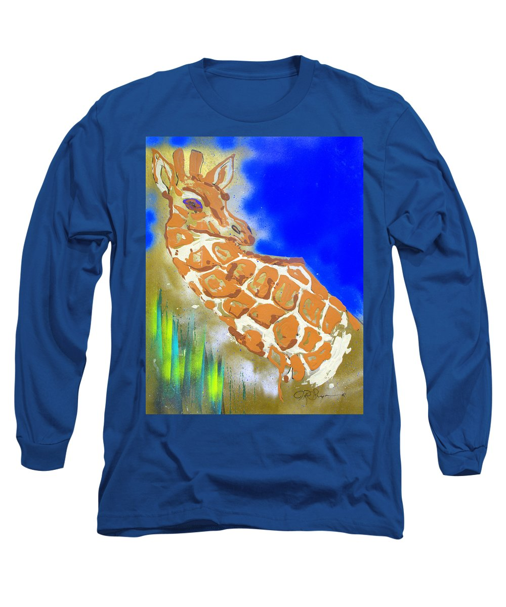 Giraffe Long Sleeve T-Shirt featuring the painting Giraffe by J R Seymour
