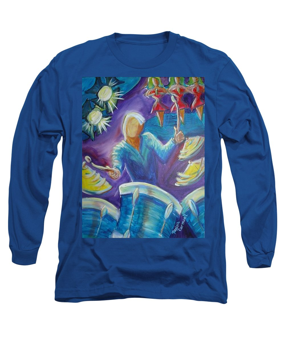 Jazz Long Sleeve T-Shirt featuring the painting Give Me A Beat by Regina Walsh