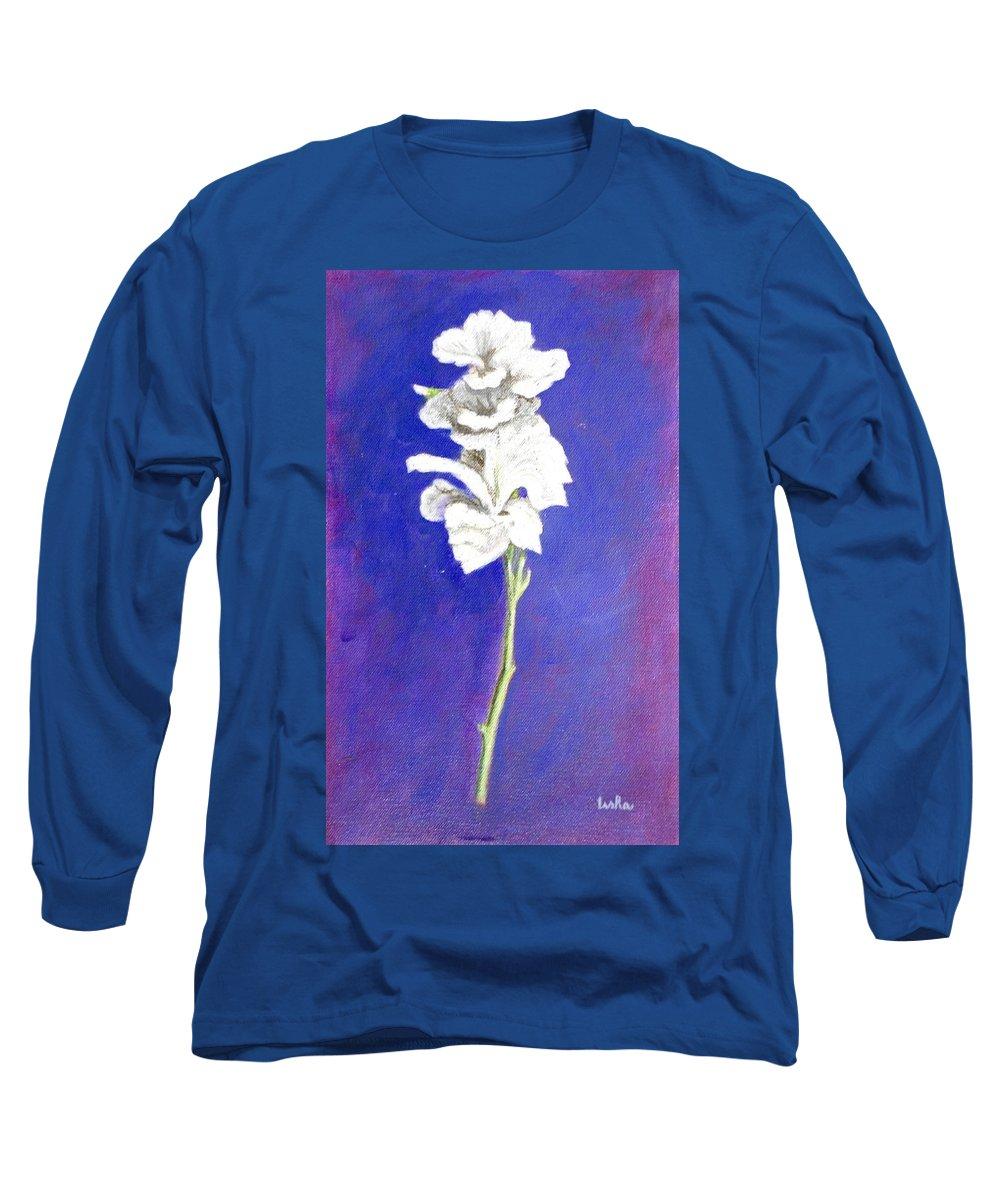 Flower Long Sleeve T-Shirt featuring the painting Gladiolus 1 by Usha Shantharam