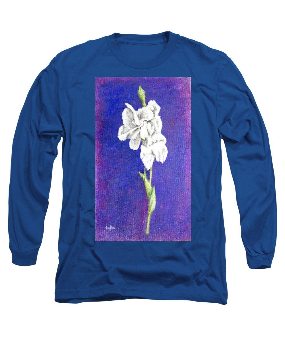 Long Sleeve T-Shirt featuring the painting Gladiolus 2 by Usha Shantharam