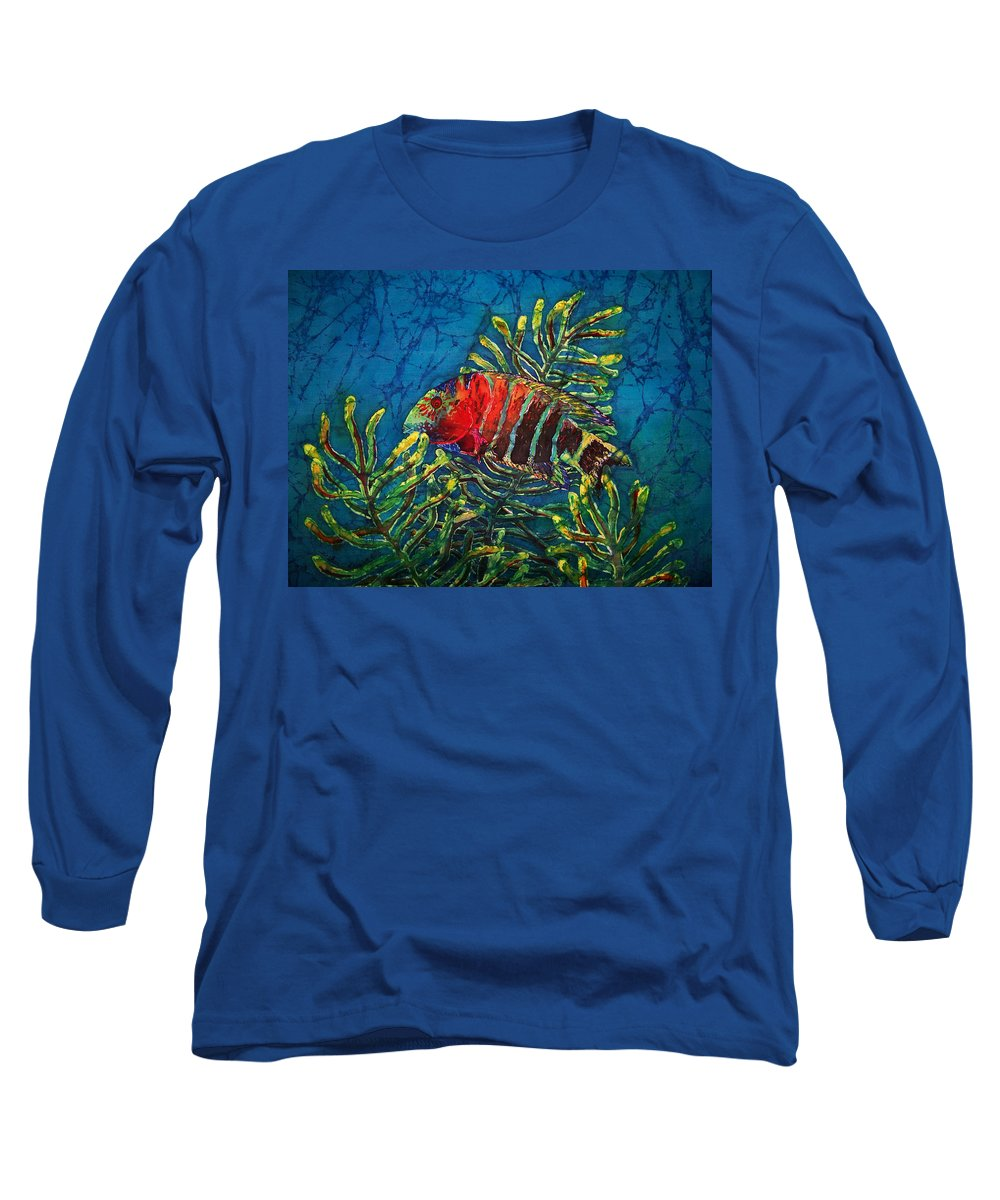 Fish Long Sleeve T-Shirt featuring the painting Hovering - Red Banded Wrasse by Sue Duda