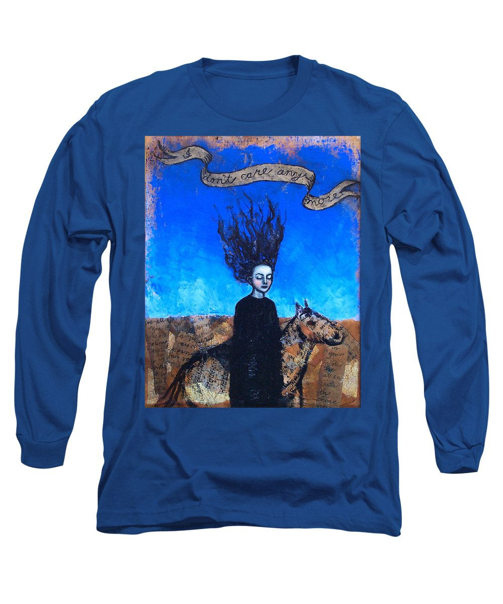 Long Sleeve T-Shirt featuring the painting Idontcareanymore by Pauline Lim