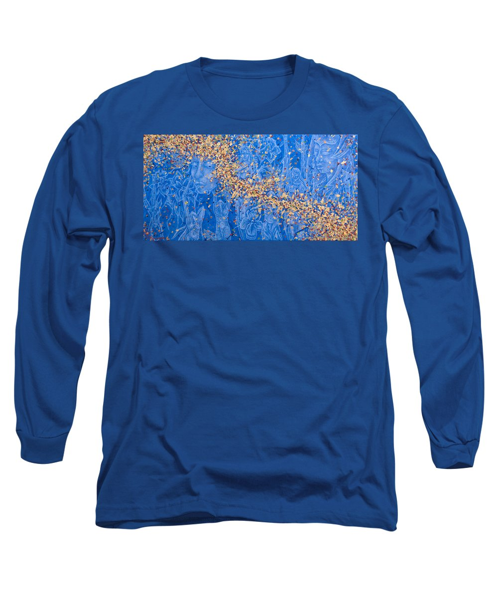 Waterfall Long Sleeve T-Shirt featuring the painting In The Falls by Judy Henninger