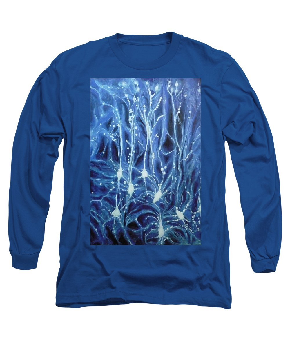 Brain Cell Long Sleeve T-Shirt featuring the painting Inside The Brain by Ericka Herazo