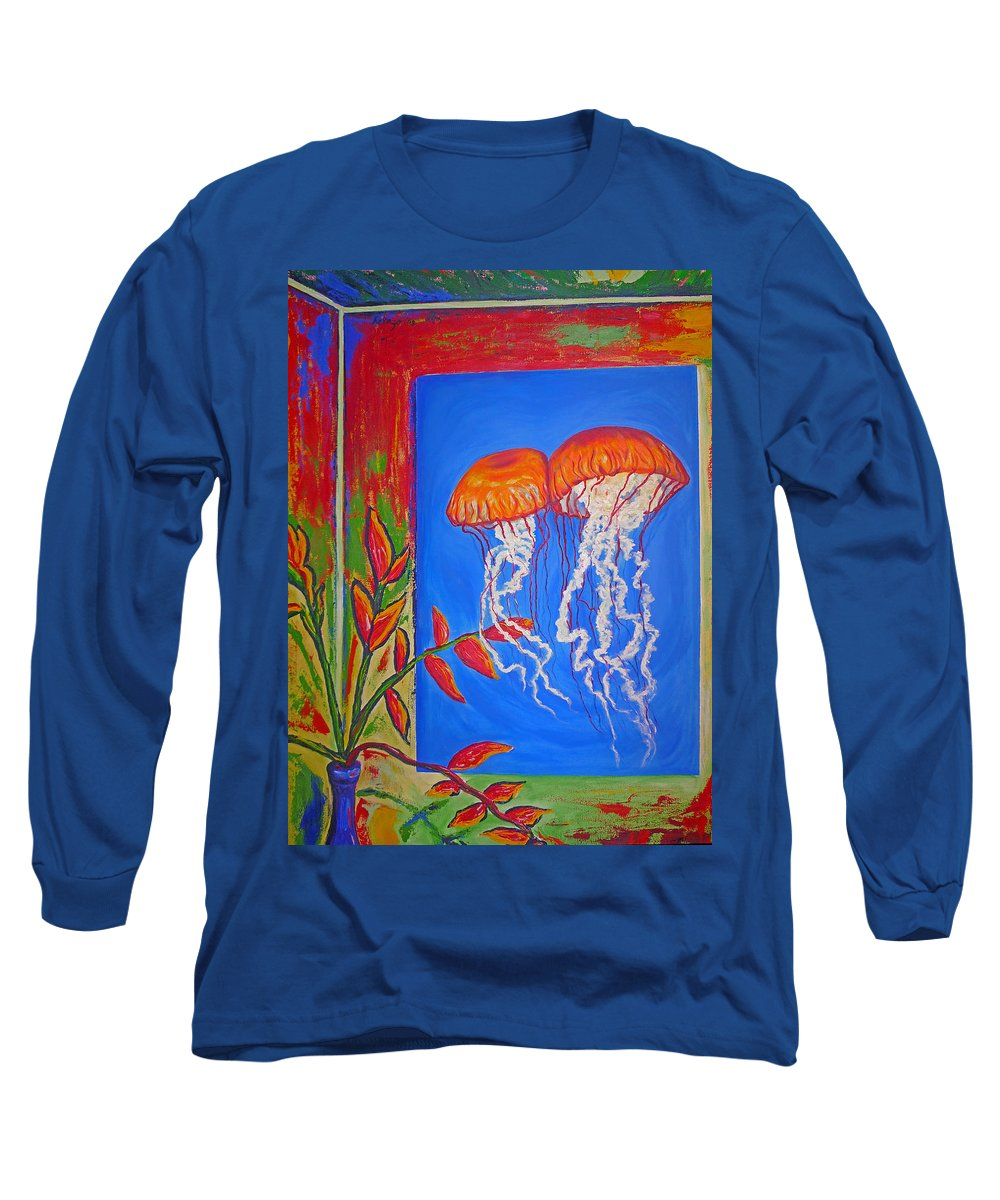 Jellyfish Long Sleeve T-Shirt featuring the painting Jellyfish With Flowers by Ericka Herazo