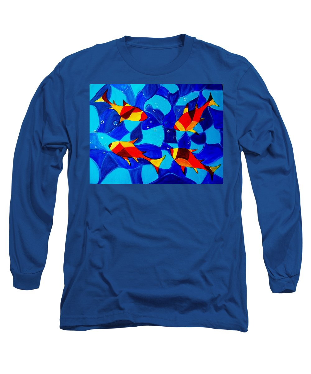Abstract.acrylic.fish.bubbles.art.painting.modern.contemporary.popblue Red Bubbles Yellow Landscape Long Sleeve T-Shirt featuring the painting Joy Fish Abstract by Manjiri Kanvinde