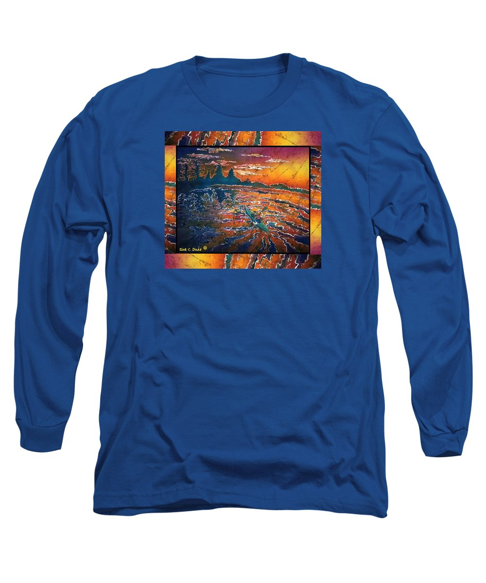 Kayak Long Sleeve T-Shirt featuring the painting Kayaking Serenity - Bordered by Sue Duda