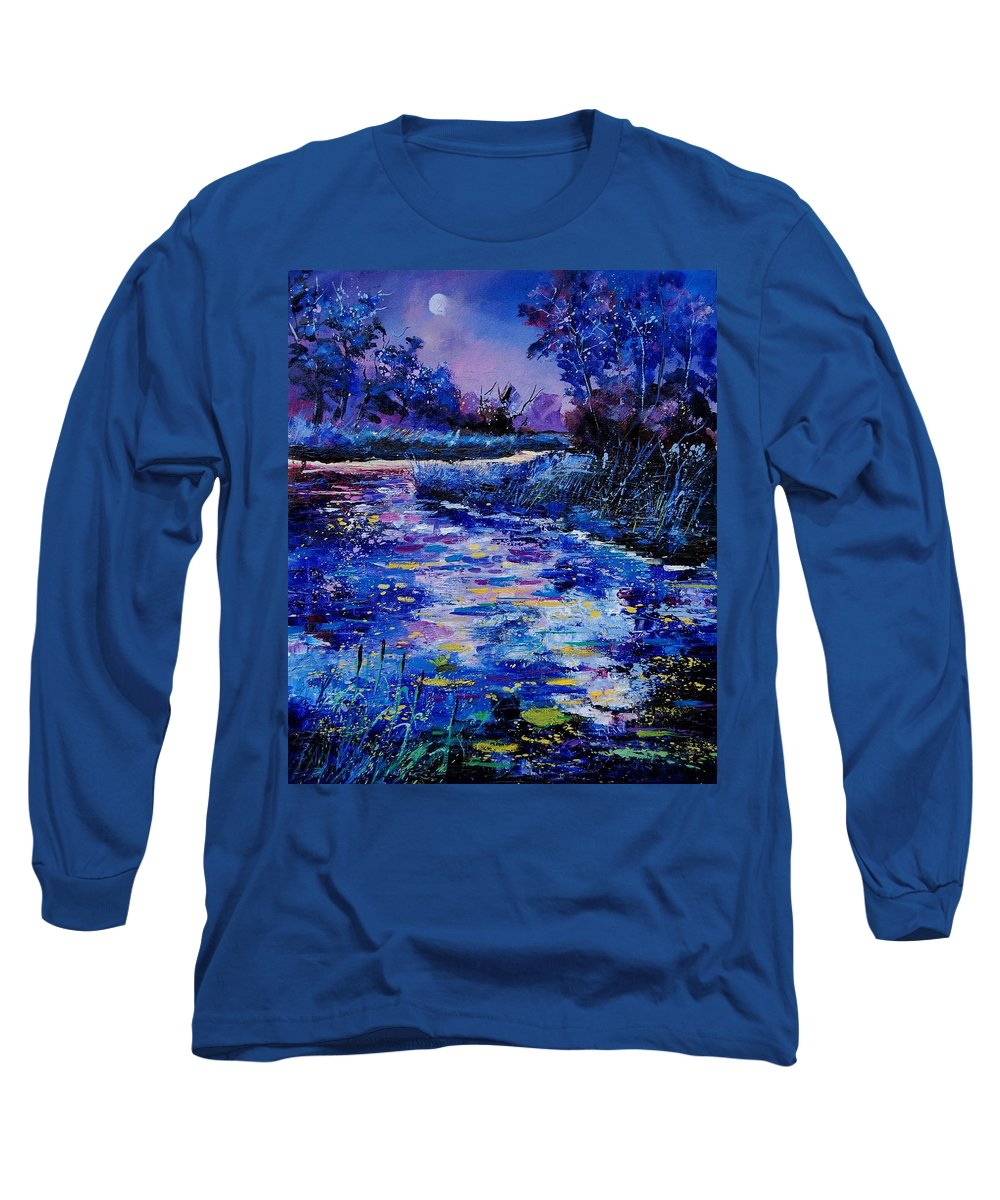 River Long Sleeve T-Shirt featuring the painting Magic Pond by Pol Ledent