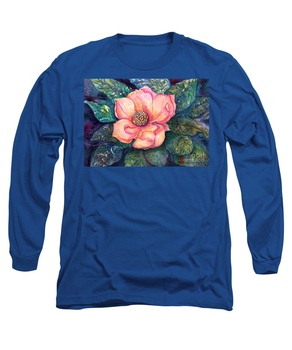 Flowers Long Sleeve T-Shirt featuring the painting Magnolia In The Evening by Norma Boeckler