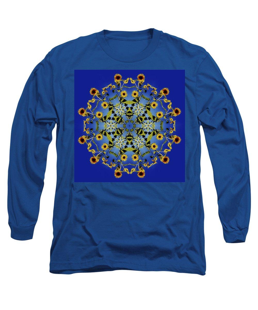 Mandala Long Sleeve T-Shirt featuring the digital art Mandala Sunflower by Nancy Griswold