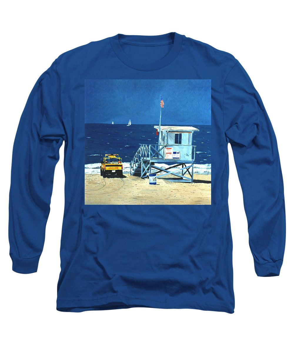 Modern Long Sleeve T-Shirt featuring the painting Manhattan Beach Lifeguard Station by Lance Headlee