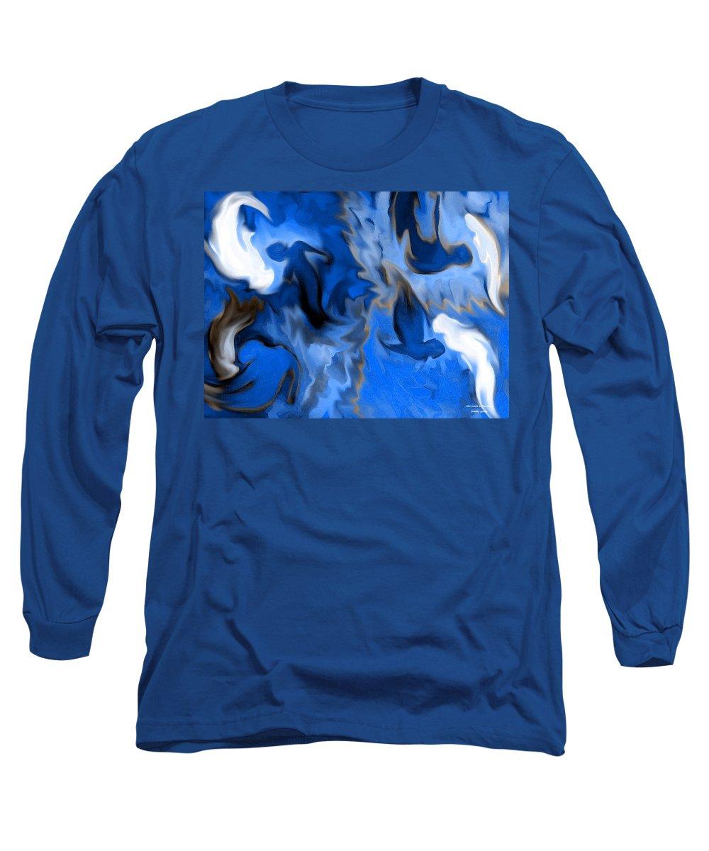 Mermaids Long Sleeve T-Shirt featuring the digital art Mermaids by Shelley Jones