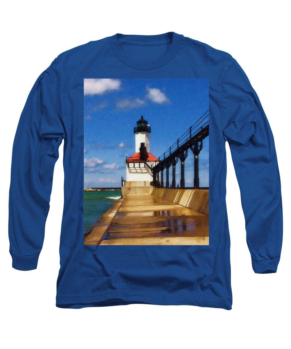 Lighthouse Long Sleeve T-Shirt featuring the photograph Michigan City Light 1 by Sandy MacGowan