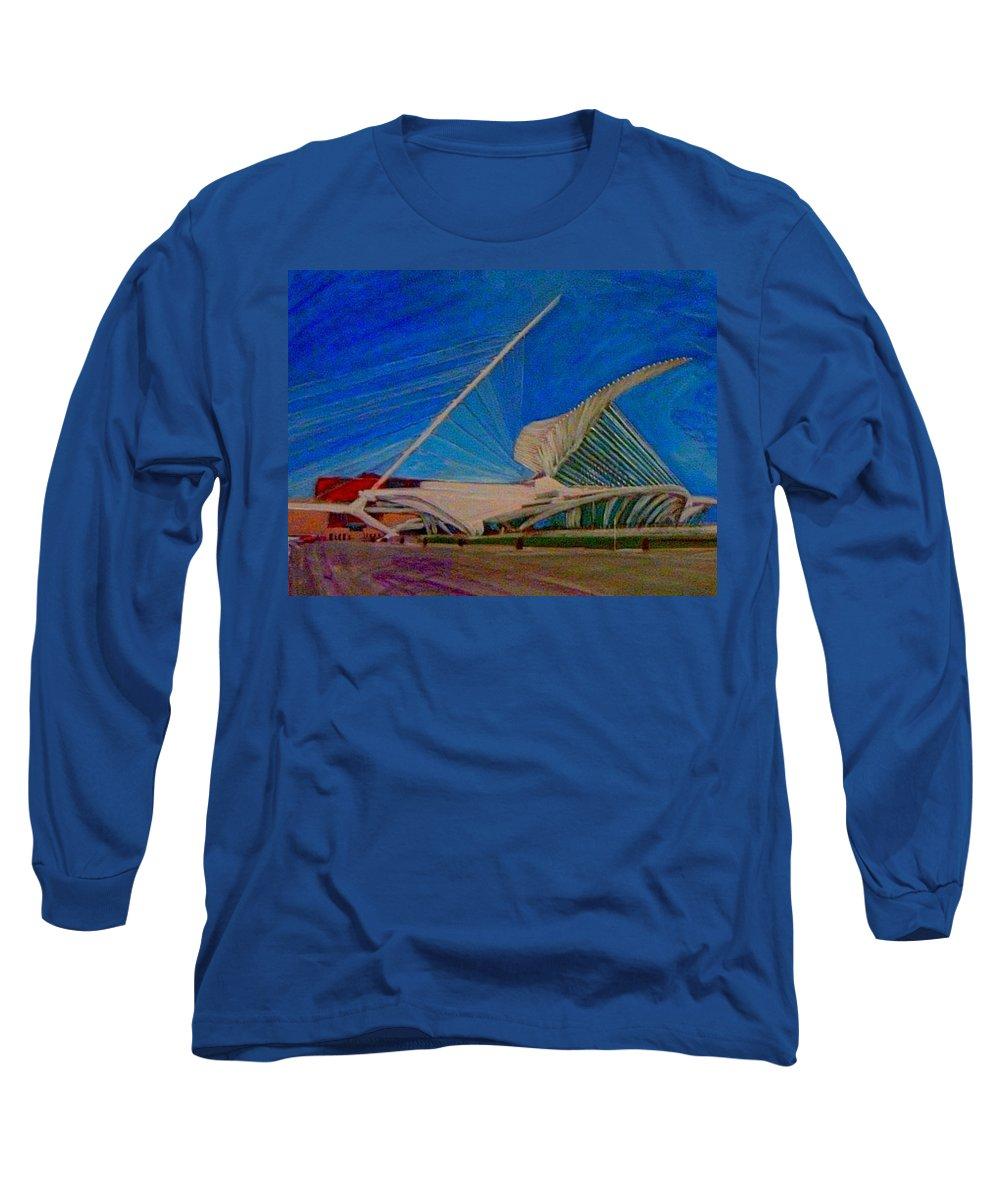 Mam Long Sleeve T-Shirt featuring the mixed media Milwaukee Art Museum by Anita Burgermeister