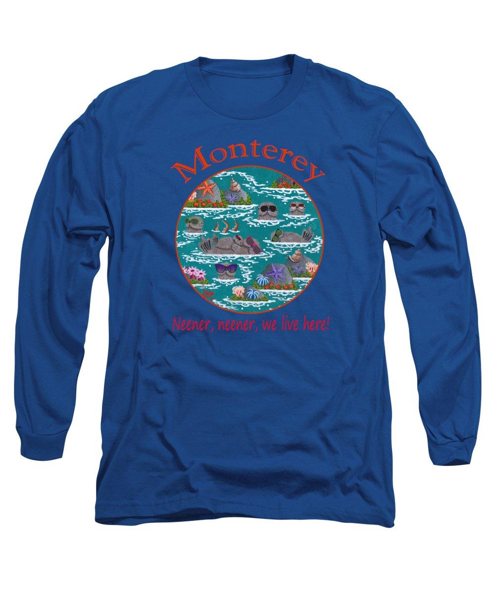 Merry Kohn Long Sleeve T-Shirt featuring the painting Monterey Neener by Merry Kohn Buvia