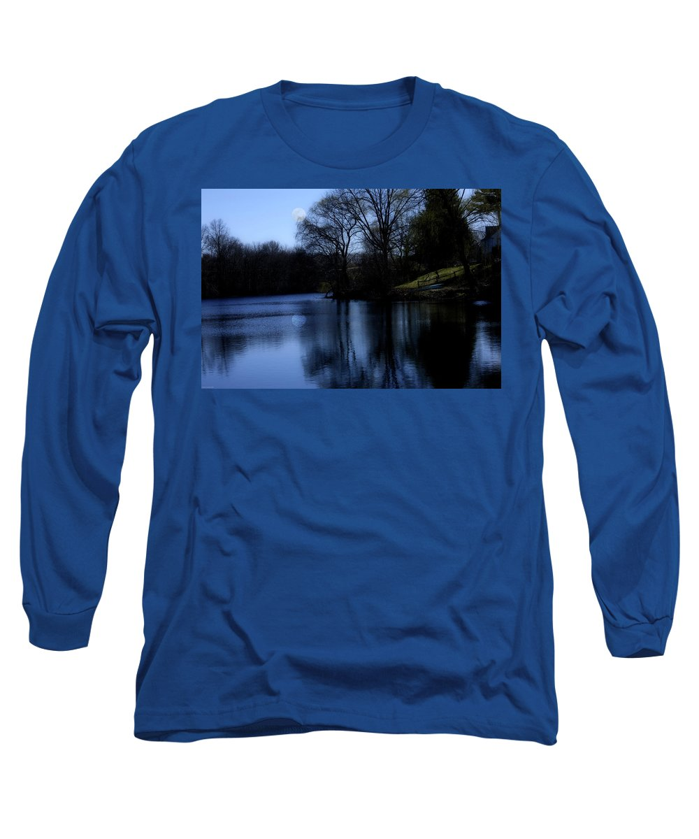 Moon Long Sleeve T-Shirt featuring the digital art Moon Over The Charles by Edward Cardini