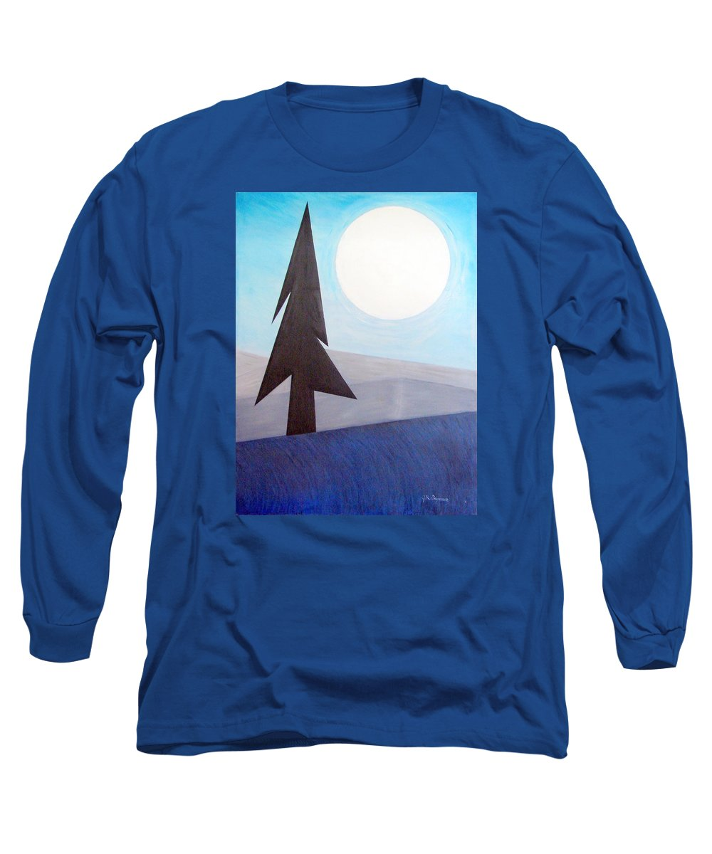 Phases Of The Moon Long Sleeve T-Shirt featuring the painting Moon Rings by J R Seymour