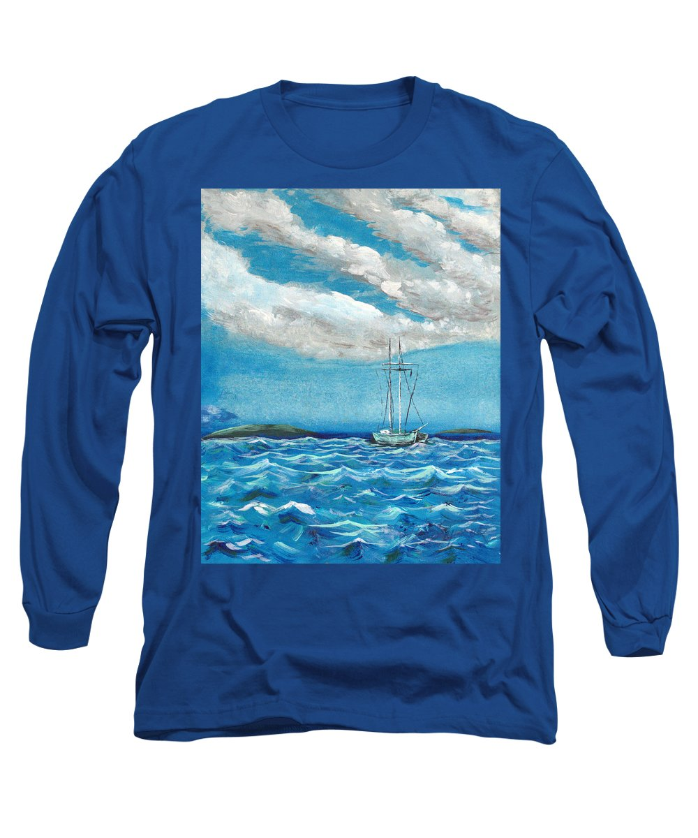 Impressionism Long Sleeve T-Shirt featuring the painting Moored In The Bay by J R Seymour