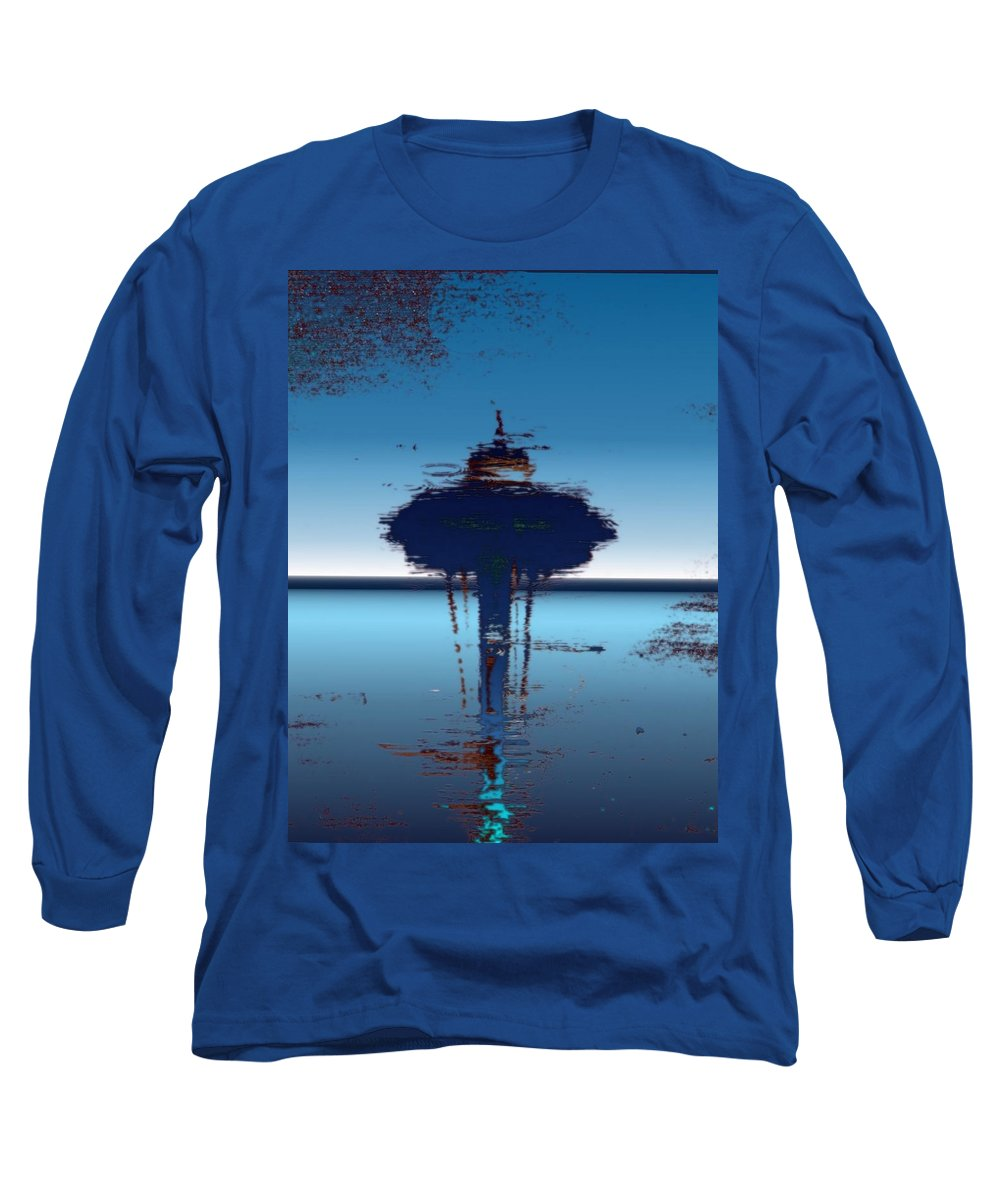 Seattle Long Sleeve T-Shirt featuring the digital art Needle In A Raindrop Stack 4 by Tim Allen